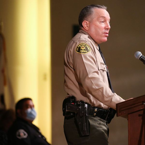Los Angeles County Sheriff Alex Villanueva speaks at the graduation ceremony for Los Angeles County Sheriff's Department Academy Class 451 at East Los Angeles College amid the COVID-19 pandemic on August 21, 2020 in Monterey Park, California. (Mario Tama/Getty Images)
