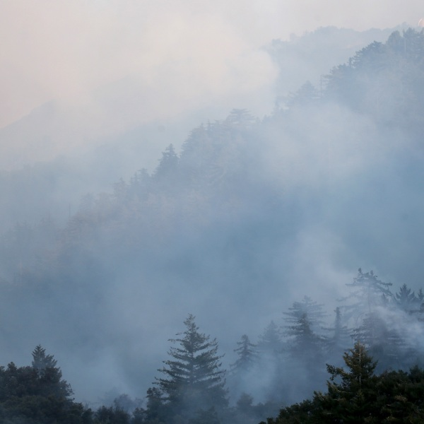 Smoke drifts over the Bobcat Fire in the Angeles National Forest on Sept. 23, 2020 near Pasadena. (Mario Tama/Getty Images)