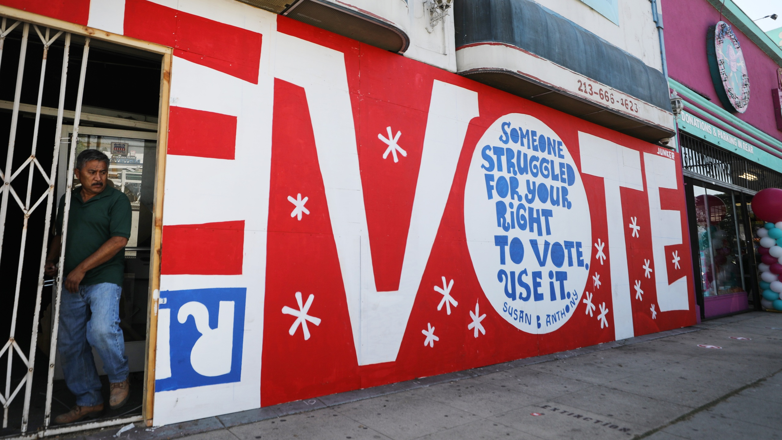 A mural by artist Eric Junker is seen on Oct. 2, 2020, in Los Angeles. (Mario Tama/Getty Images)
