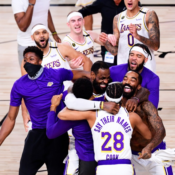 LeBron James of the Los Angeles Lakers celebrates with his teammates after winning the 2020 NBA Championship in Game 6 of the 2020 NBA Finals at AdventHealth Arena at the ESPN Wide World Of Sports Complex on Oct. 11, 2020 in Lake Buena Vista, Florida. (Douglas P. DeFelice/Getty Images)