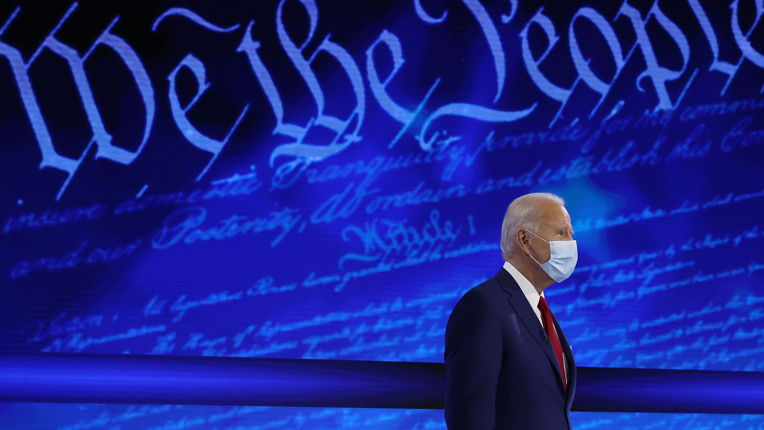 Democratic presidential nominee Joe Biden participates in a Town Hall format meeting with ABC News Chief Anchor George Stephanopoulos at the National Constitution Center on Oct. 15, 2020 in Philadelphia, Pennsylvania. (Chip Somodevilla/Getty Images)