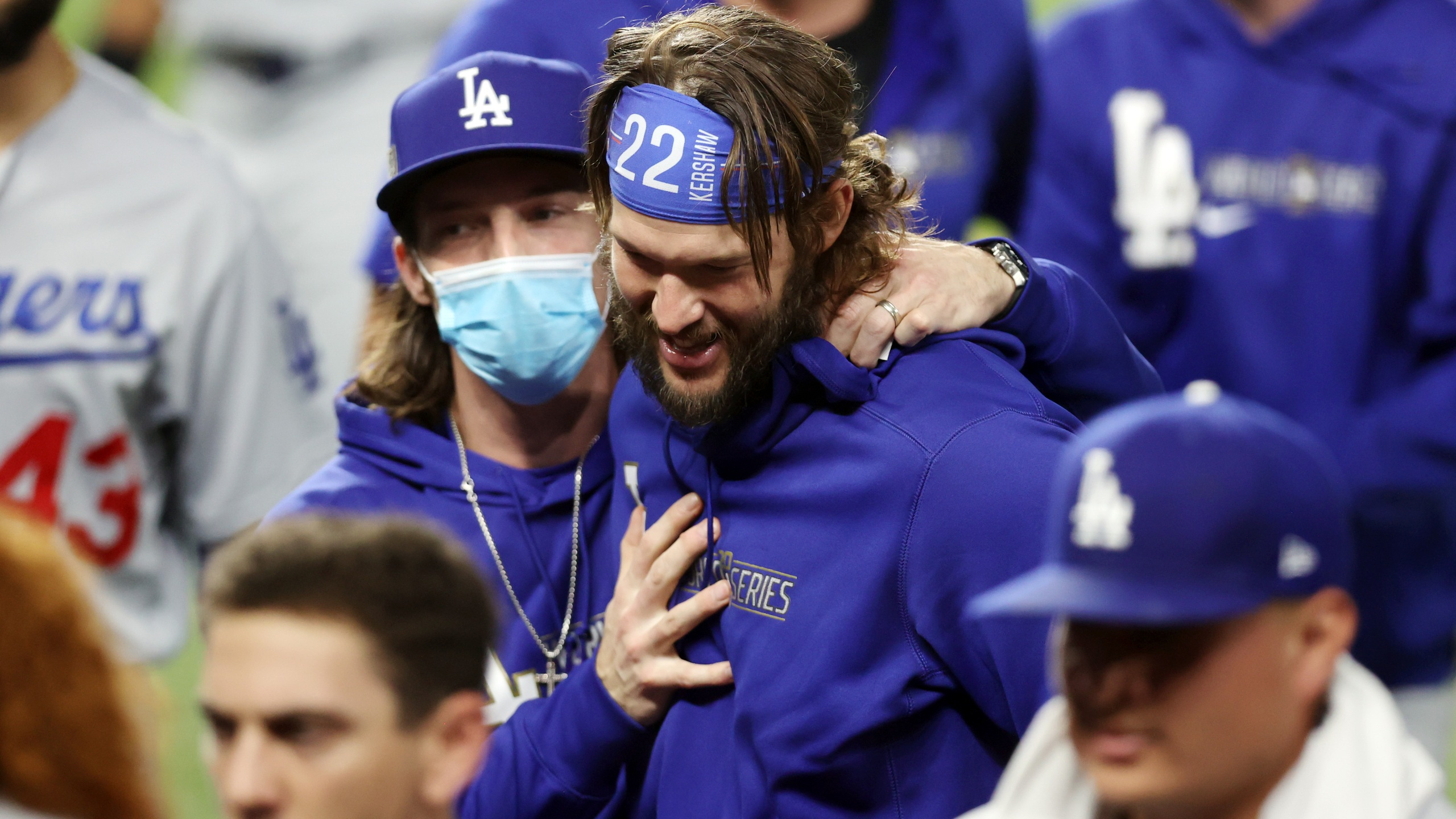 Clayton Kershaw #22 of the Los Angeles Dodgers celebrates with his teammates following their 4-2 victory against the Tampa Bay Rays in Game 5 of the 2020 MLB World Series at Globe Life Field on Oct. 25, 2020 in Arlington, Texas. (Tom Pennington/Getty Images)