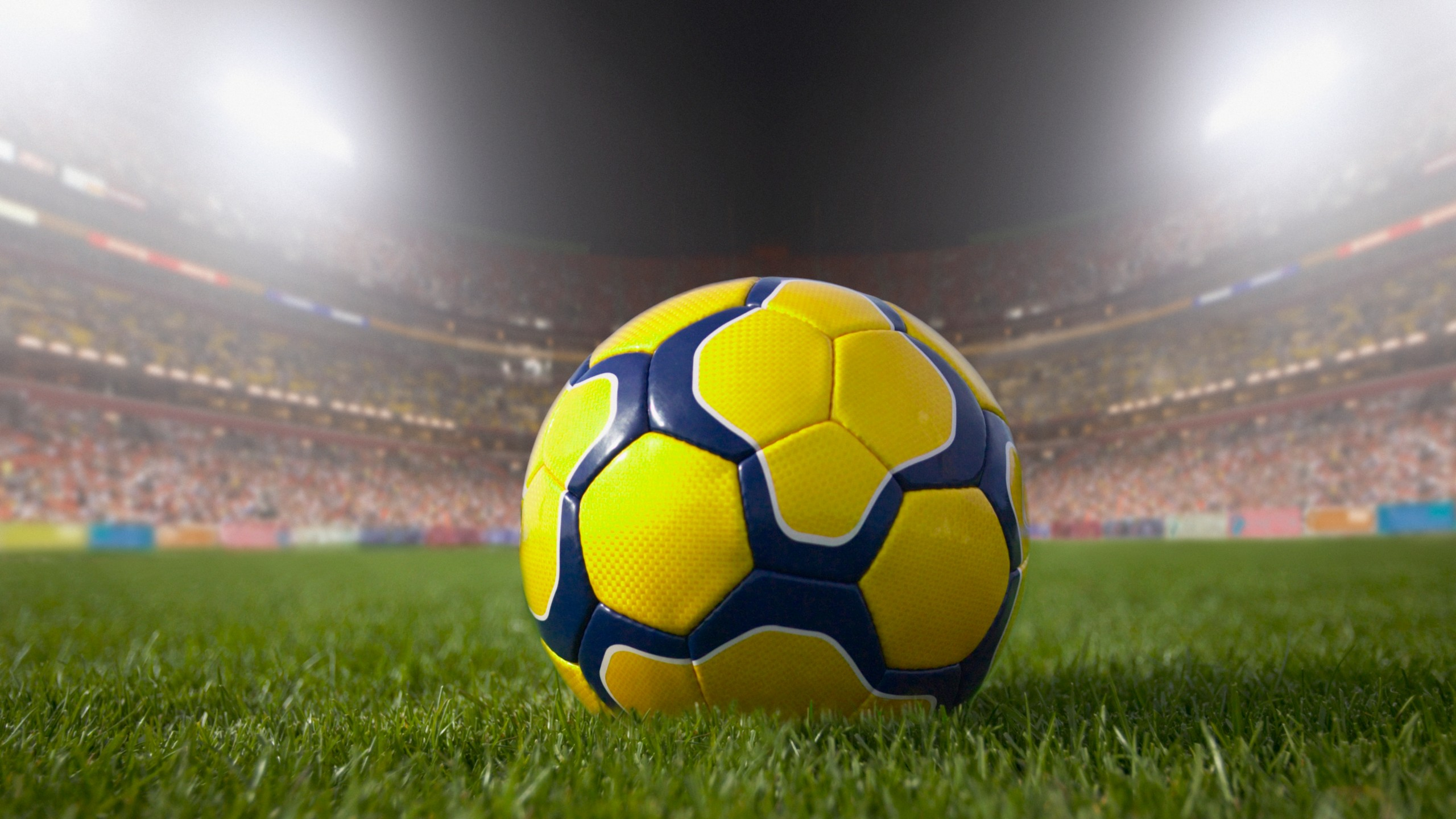 A soccer ball is seen on a field in a stadium in this undated file photo. (Getty Images)