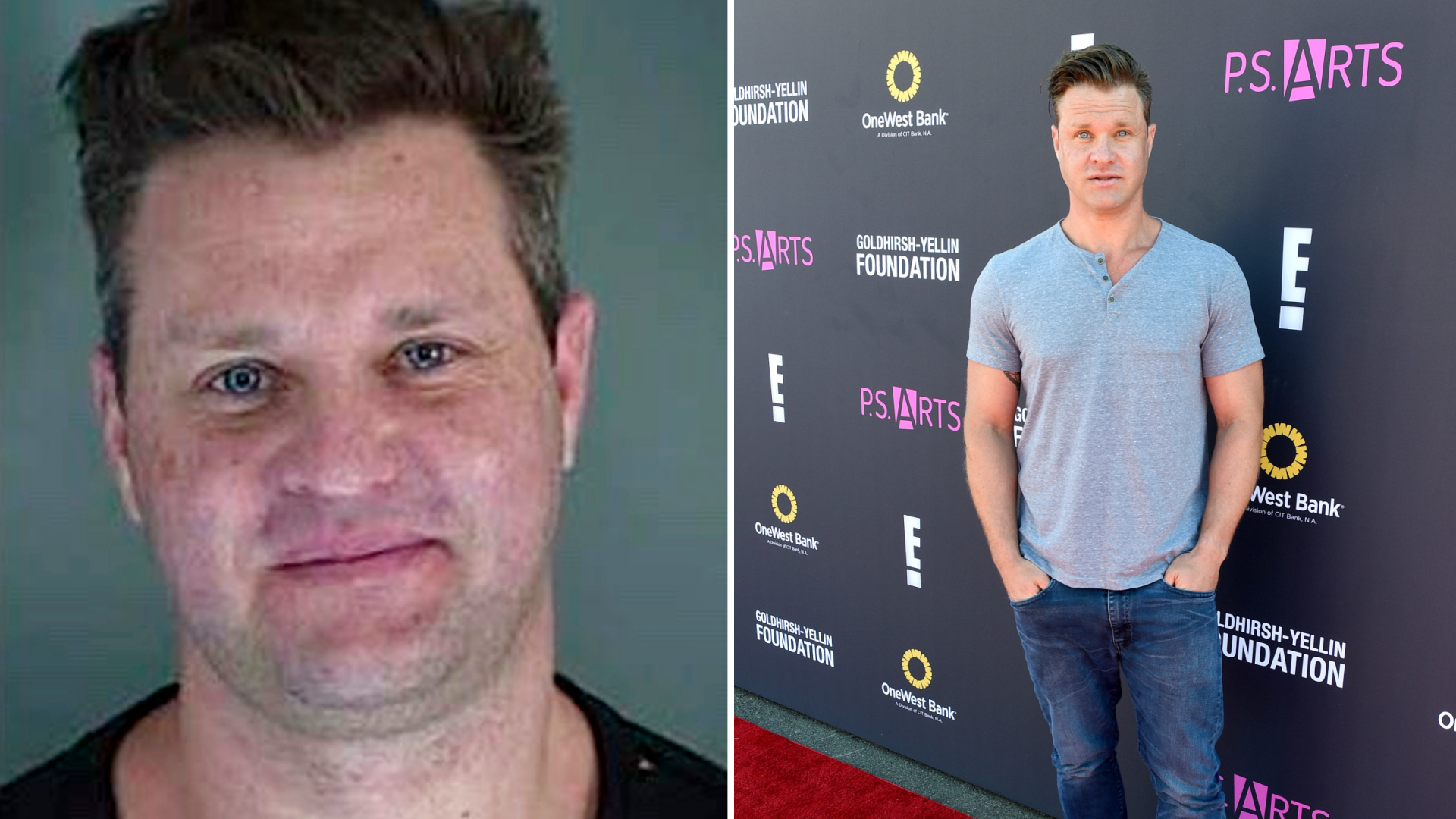 This booking photo released Saturday, Oct. 17, 2020, by the Eugene, Ore., Police Department shows suspect Zachery Ty Bryan. On the right, the actor is seen Nov.13, 2016, at an event in Santa Monica, California. (Joshua Blanchard/Getty Images for P.S. ARTS)