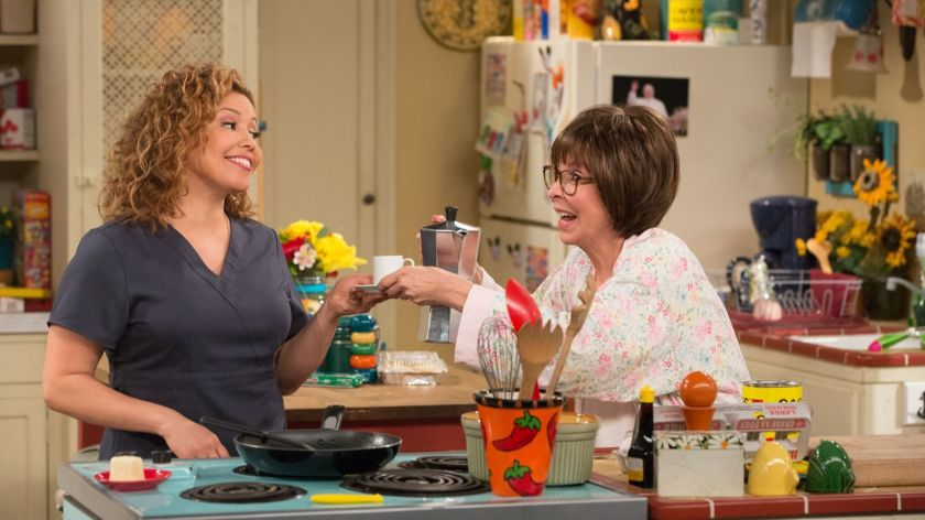 "Justina Machado, left, played a single mother of two, with Rita Moreno as her mother, in the Netflix reboot of ""One Day at a Time."" (Michael Yarish/Netflix)"