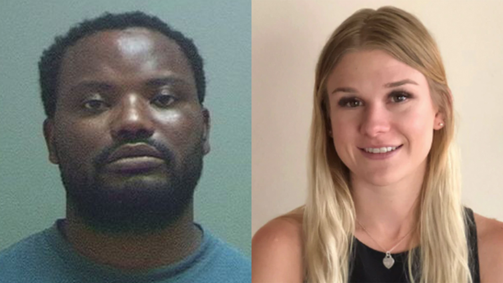 At left, Ayoola Ajayi is seen in an undated booking photo. At right, MacKenzie Lueck is seen in a photo released by Salt Lake City police in June 2019.