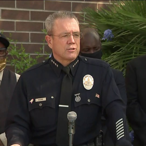 LAPD Chief Michel Moore speaks at a news conference on Oct. 2, 2020. (KTLA)