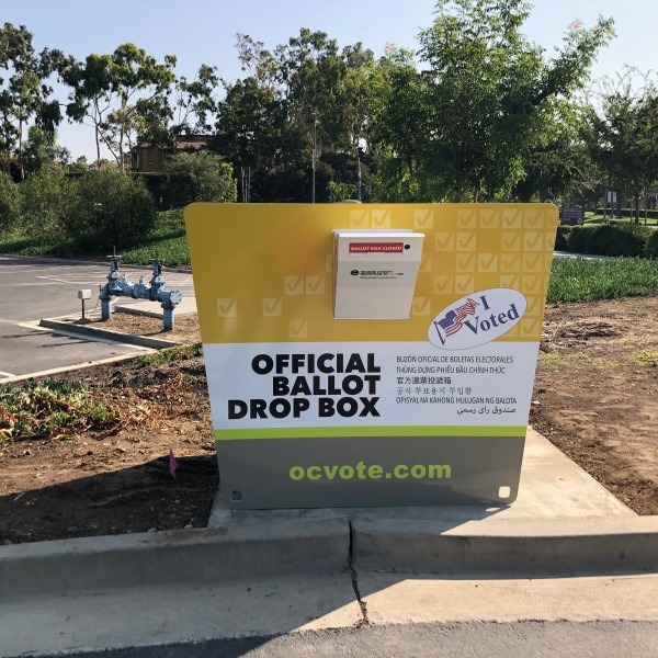 This photo shows a legitimate drop box for use by California voters. The image was released by the Orange County registrar of voters on Oct. 12, 2020.