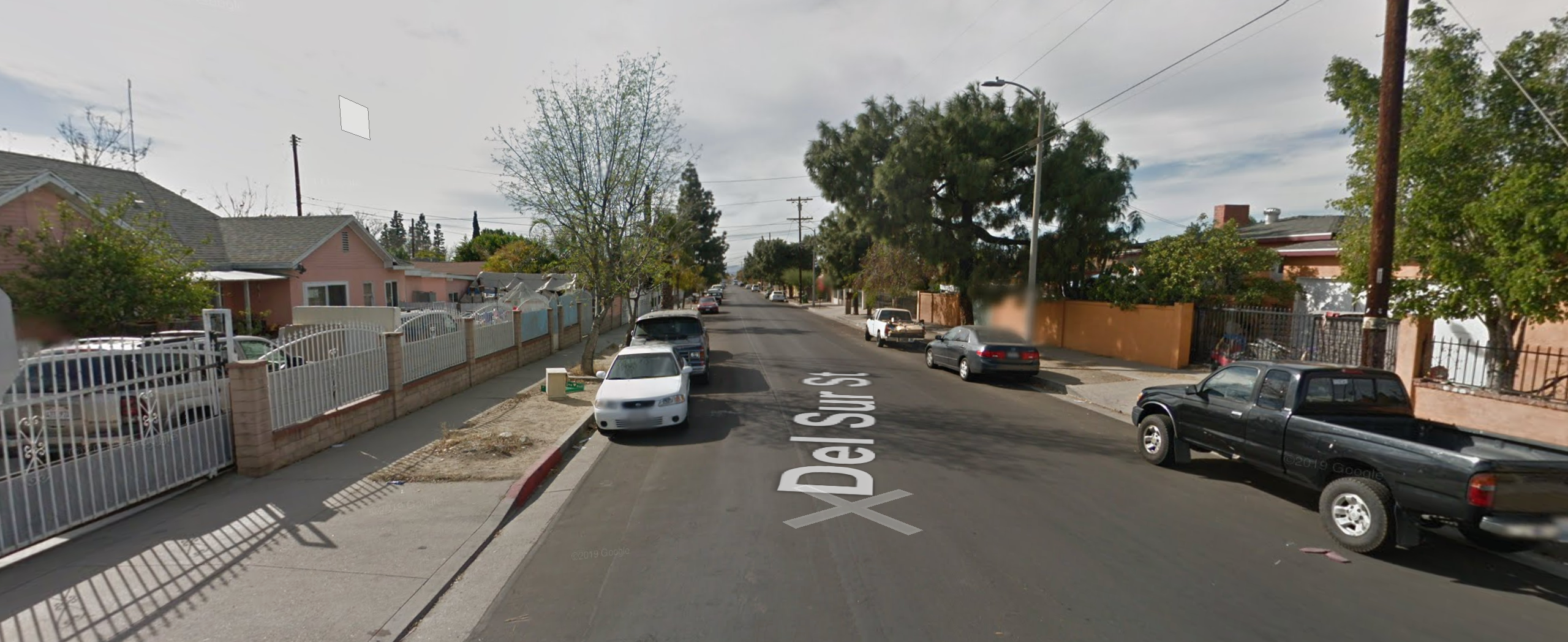 The 13200 block of Del Sur Street in Pacoima is seen in an undated photo from Google Maps street view.