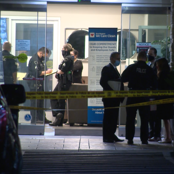The scene of an officer-involved shooting at a Winnetka hotel on Oct. 15, 2020. (KTLA)