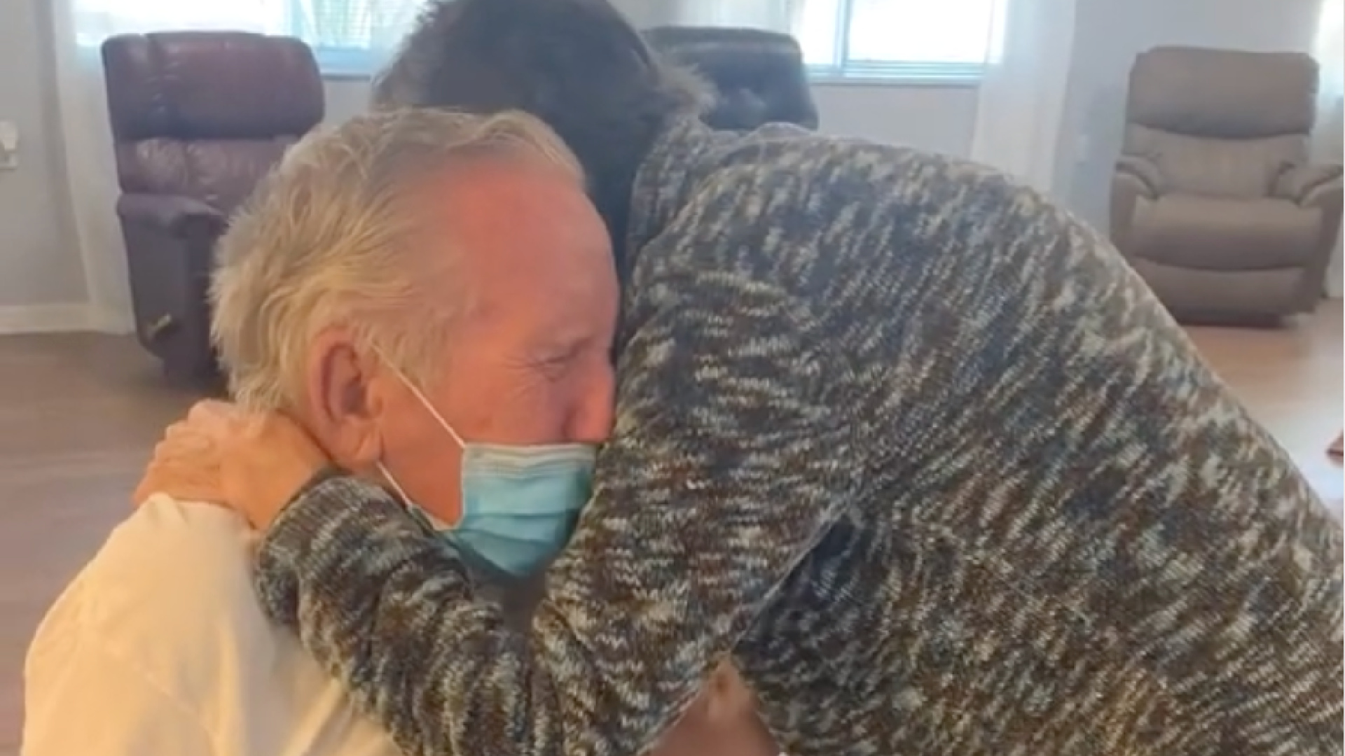 A couple married for more than 60 years are reunited at a Florida assisted living facility on Oct. 14, 2020, after they had been separated for 215 days due to coronavirus restrictions. (Rosecastle at Delaney Creek via Storyful)