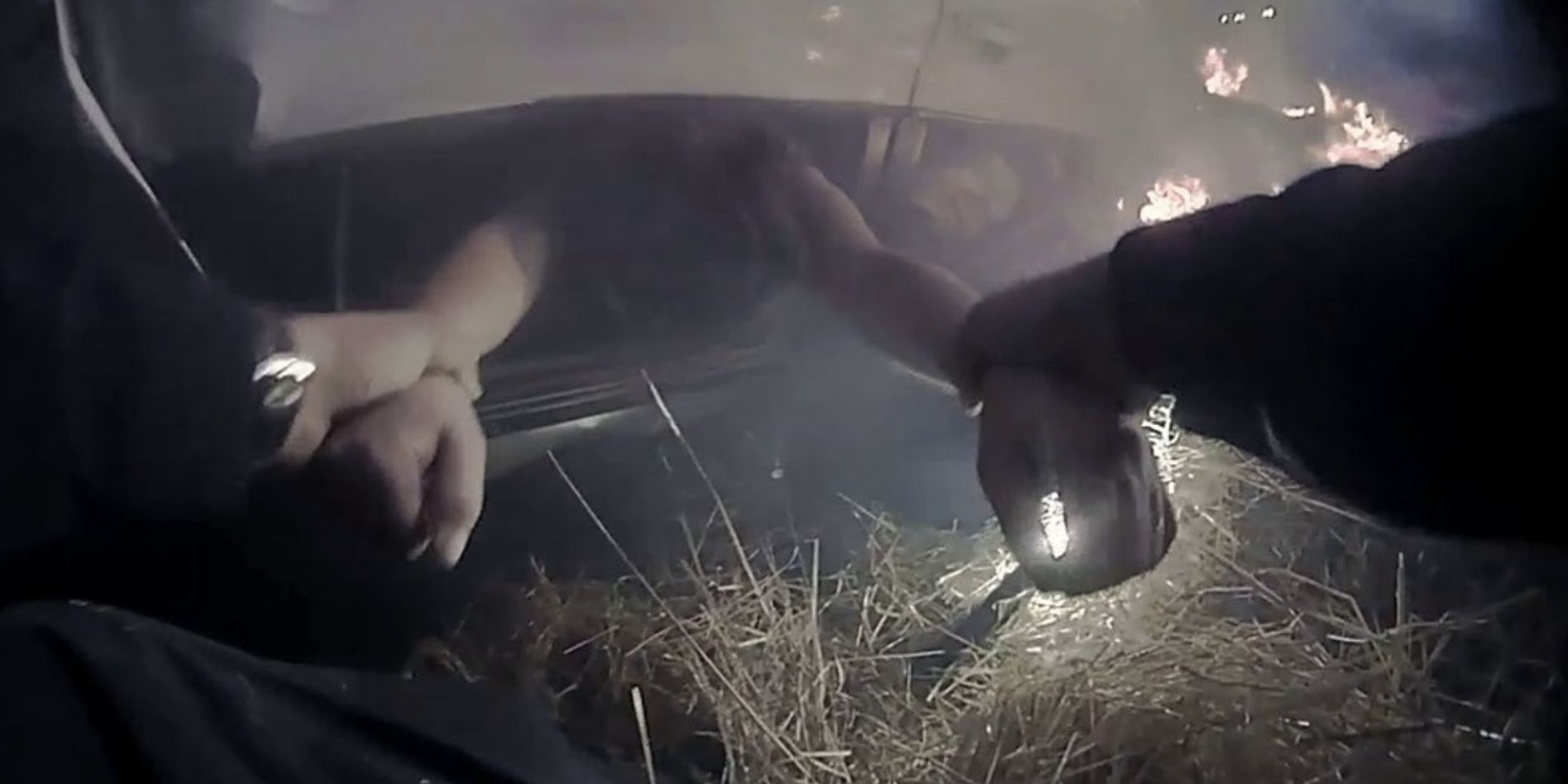 Davis Police officer pulls woman out of burning car, (Davis Police Department)