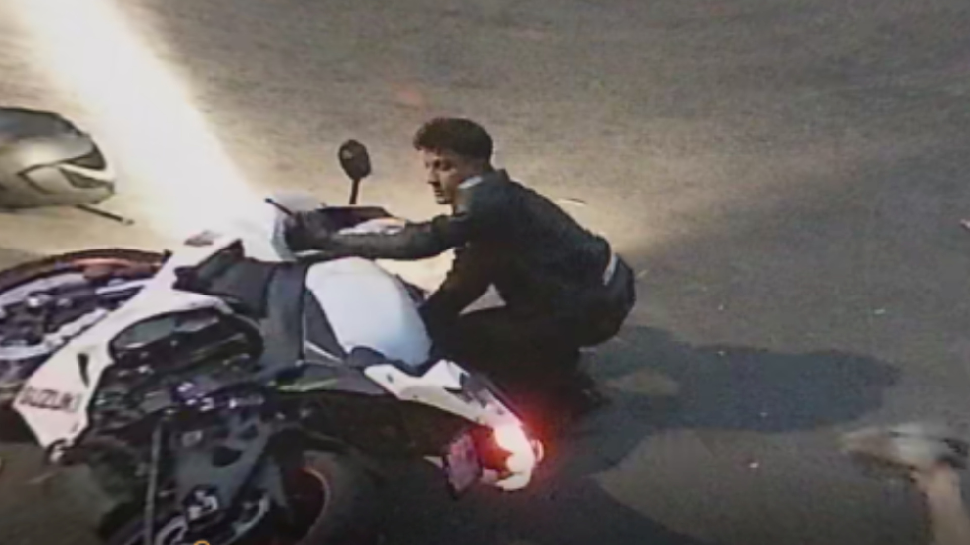 A motorcyclist sought in a hit-and-run crash that injured 6-year-old riding scooter in Sylmar on Oct. 24, 2020. (LAPD Valley Traffic Division)
