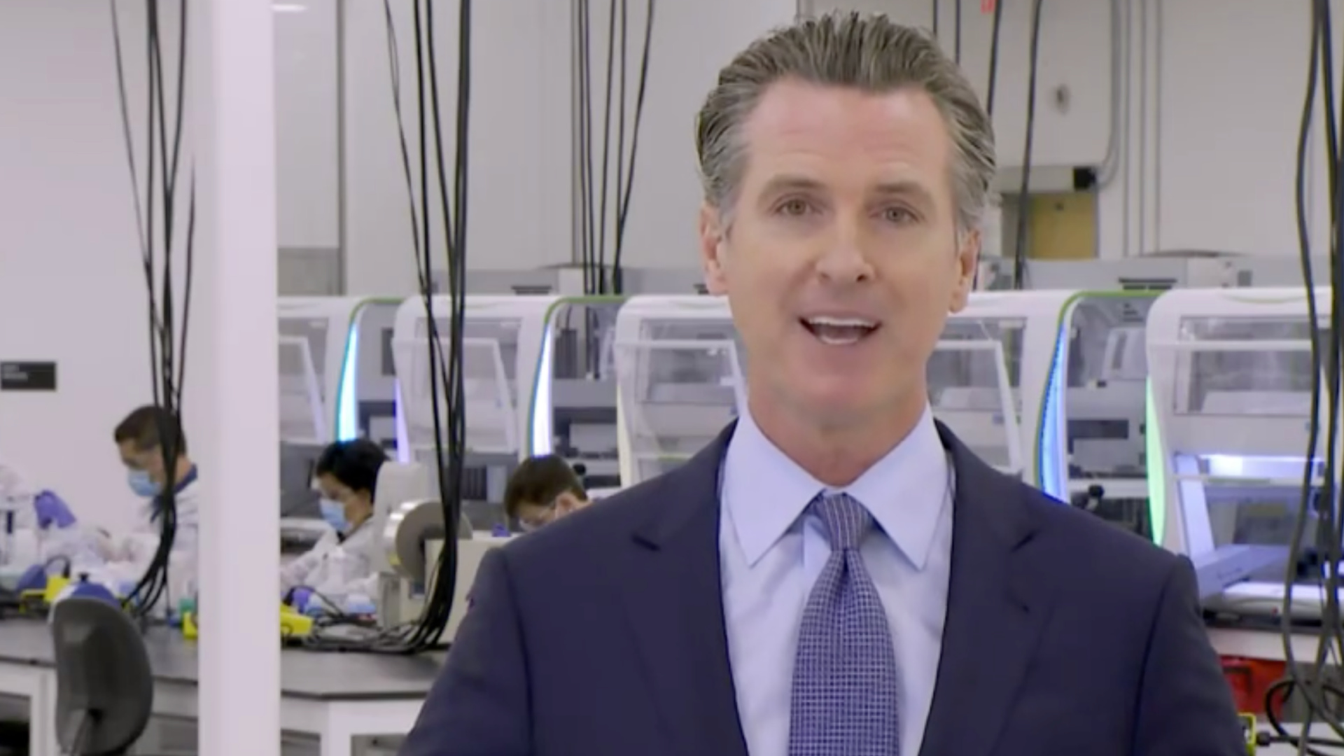 Gov. Gavin Newsom is seen at a new coronavirus testing site in Valencia on Oct. 30, 2020. (POOL)