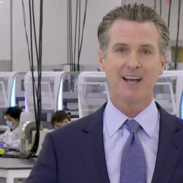 Gov. Gavin Newsom is seen at a new coronavirus testing site in Valencia on Oct. 30, 2020. (POOL)