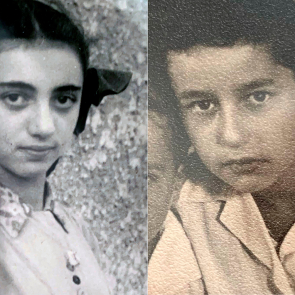"On the left, a 1948 photo, provided by Ruth Brandspiegel, Brandspiegel is photographed in the Hallein Displaced Persons Camp in Austria following World War II. On the right, Israel ""Sasha"" Eisenberg is photographed at the Hallein Displaced Persons Camp in Austria in 1949. (Ruth Brandspiegel via AP)"