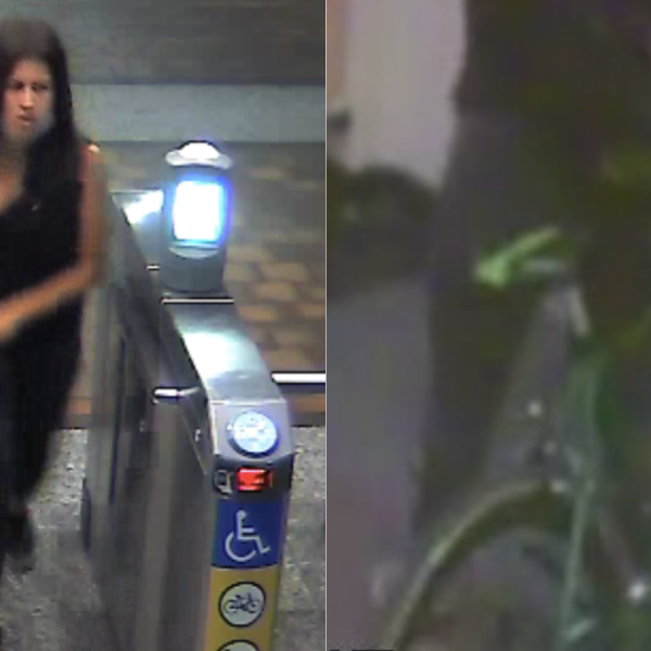 LAPD released these photos of a woman with her bike after she allegedly stabbed to death a Metro employee at the 7th Street/Metro Center station in downtown Los Angeles on Oct. 16, 2020.