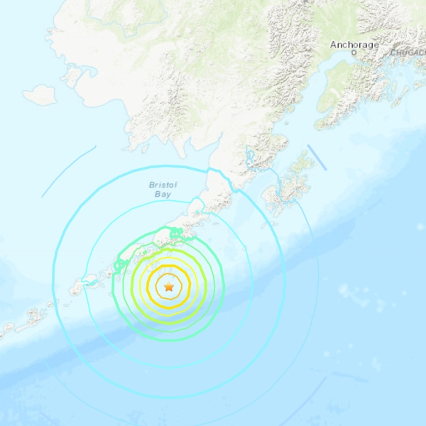 The U.S. Geological Survey provided this shake map for a magnitude 7.4 quake off the coast of Alaska on Oct. 19, 2020.