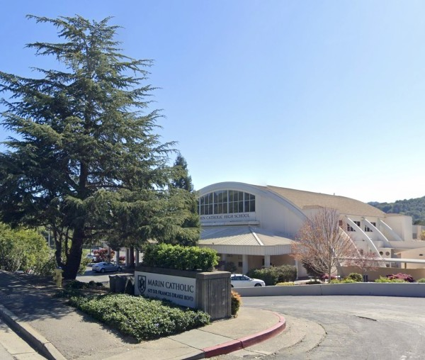 Marin Catholic School is shown in a Street View image from Google Maps.