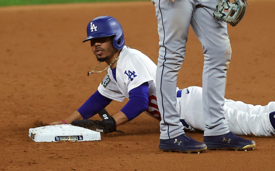 Mookie Betts of the Los Angeles Dodgers steals second base against the Tampa Bay Rays during the fifth inning in Game One of the 2020 MLB World Series on October 20, 2020 in Arlington, Texas. (Ronald Martinez/Getty Images)