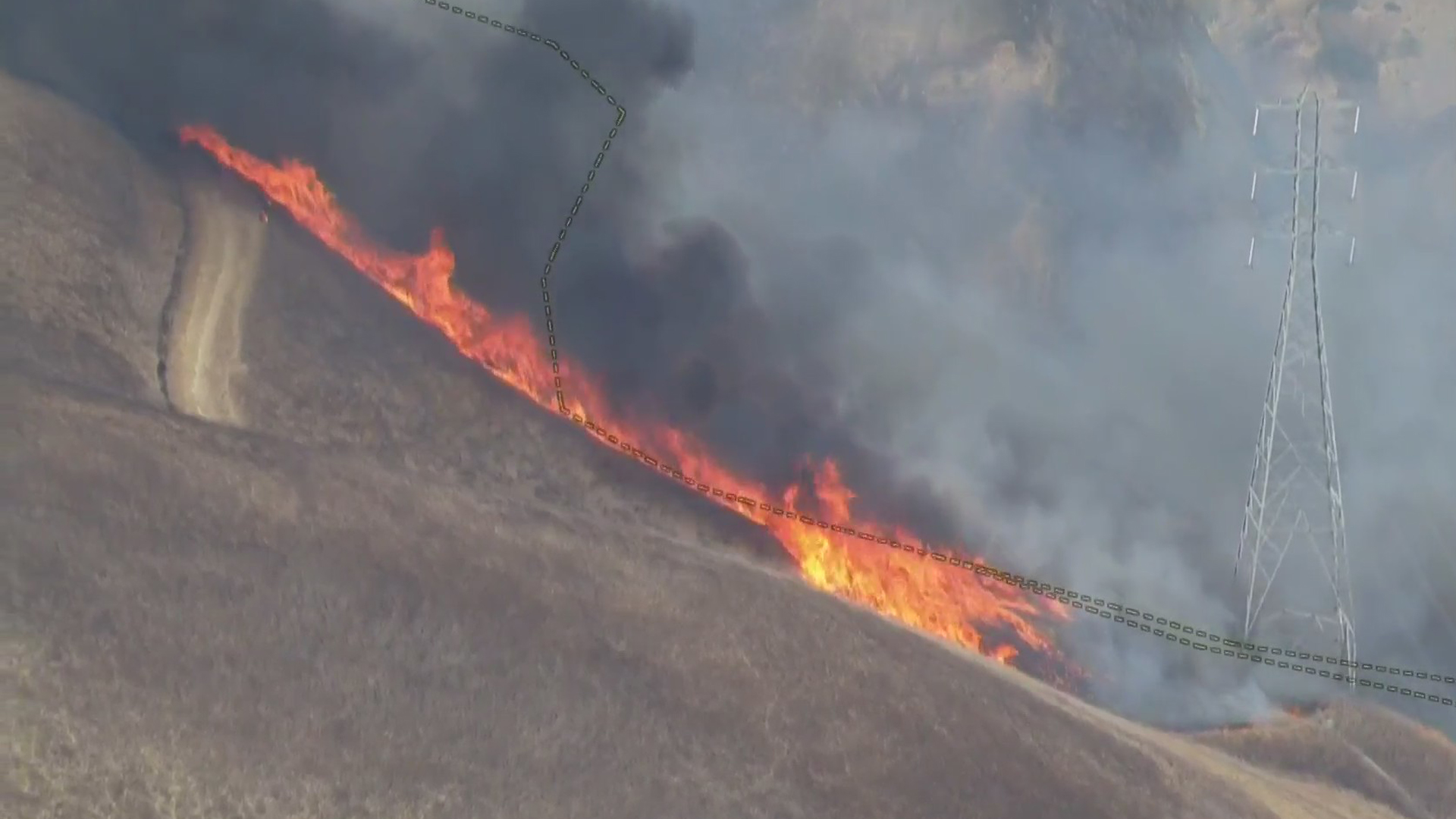 The Blue Ridge Fire in Yorba Linda was threatening power lines in the area on Oct. 26, 2020. (KTLA)