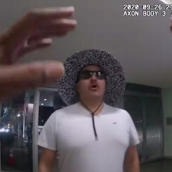 Jose Guzman is seen in bodycam video inching close to an LAPD officer on Sept. 26, 2020 in bodycam video released by police on Oct. 7, 2020.