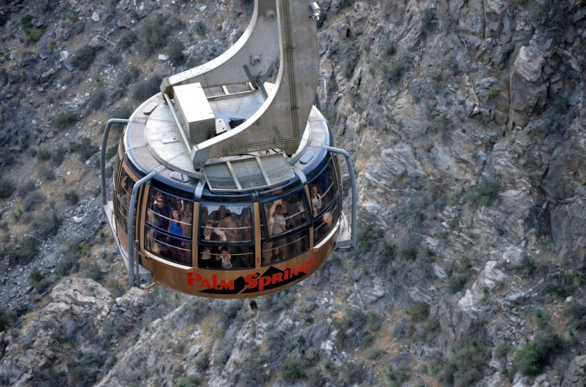 The Palm Springs Aerial Tramway climbs Mt. San Jacinto from 2,643 feet above sea level to 8,516 feet. (Christopher Reynolds / Los Angeles Times)