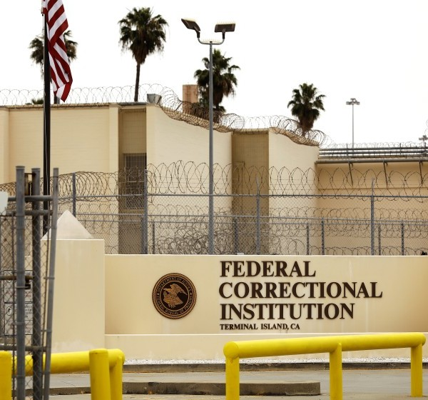 Exterior view of the Federal Correctional Institution Terminal Island in San Pedro. A man who was released from the prison earlier this year was killed in a shooting in Alaska on Oct. 21, 2020. (Christina House / Los Angeles Times)