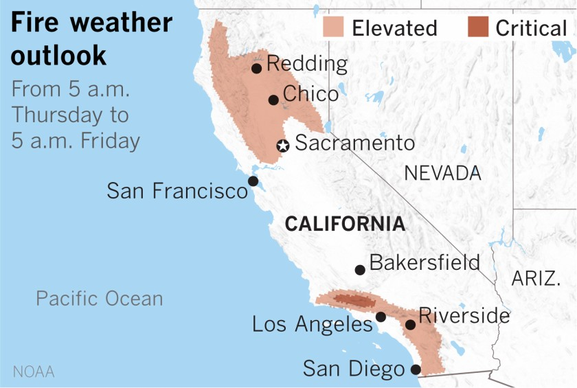 Critical fire conditions appear likely in the mountains north of Los Angeles, forecasters say.(Paul Duginski / Los Angeles Times)