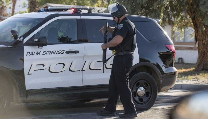 Palm Springs police detained two teenagers Sunday after an altercation was reported at a pro-Trump rally.(Brian van der Brug / Los Angeles Times)