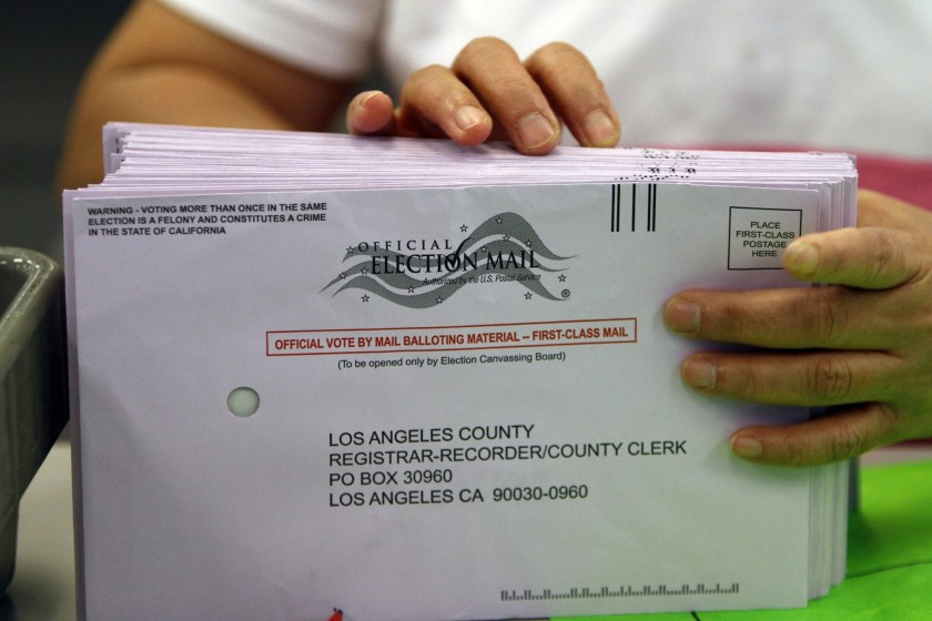 For the first time, Los Angeles County is sending a mail ballot to every voter ahead of the November election.(Allen J. Schaben / Los Angeles Times)