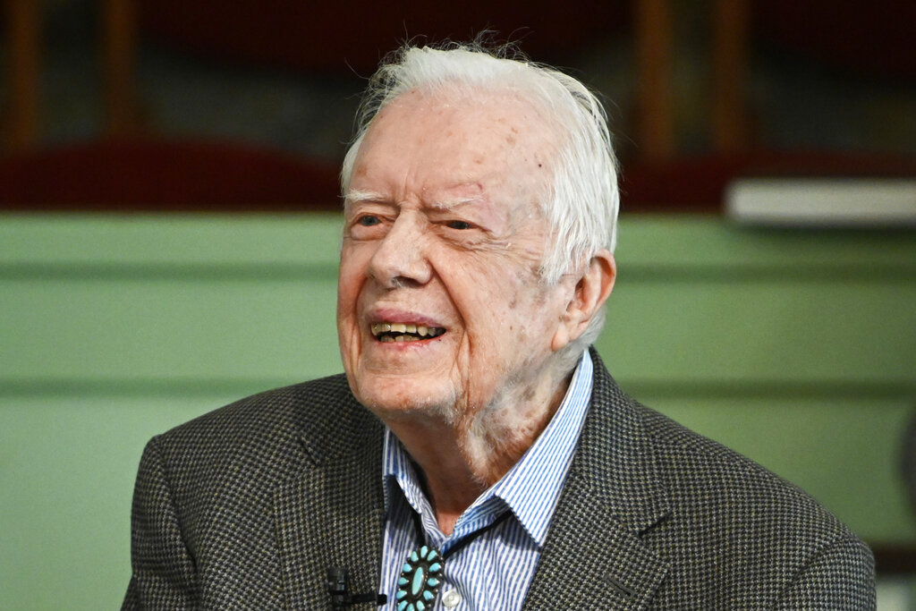 Former President Jimmy Carter teaches Sunday school at Maranatha Baptist Church in Plains, Ga. in 2019. (AP Photo/John Amis, File)