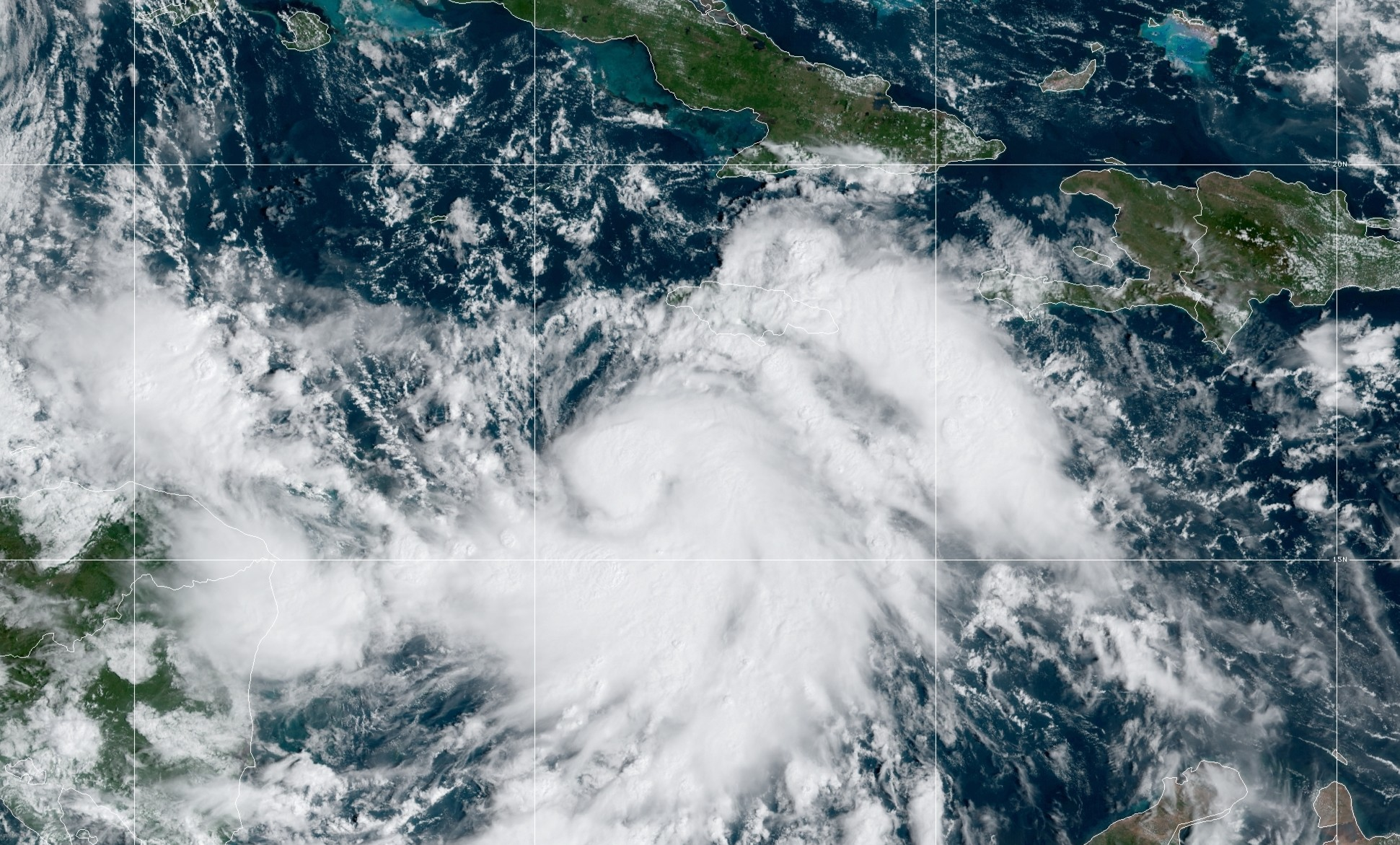 Tropical Storm Delta appears in a map image released by the National Hurricane Center on Oct. 5, 2020.