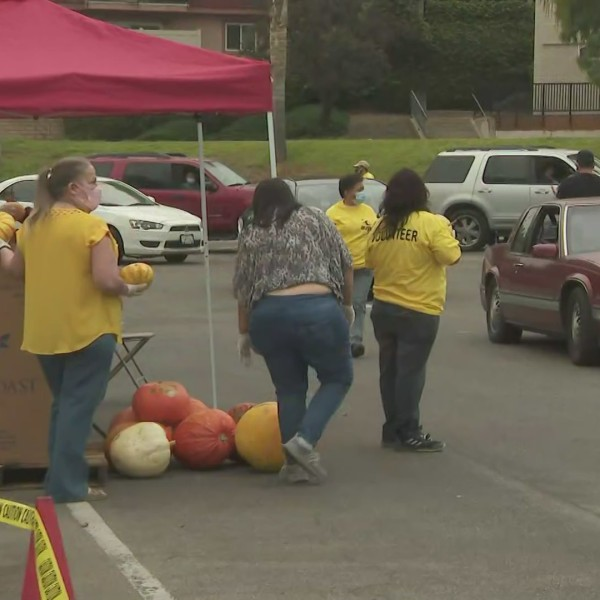 People offer food to laid-off and furloughed Disney workers at the Main Place Christian Fellowship Church in Orange on Oct. 24, 2020. (KTLA)