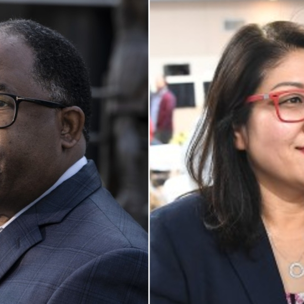 Mark Ridley-Thomas and Grace Yoo are seen in undated photos. (Brian van der Brug, Wally Skalij / Los Angeles Times)
