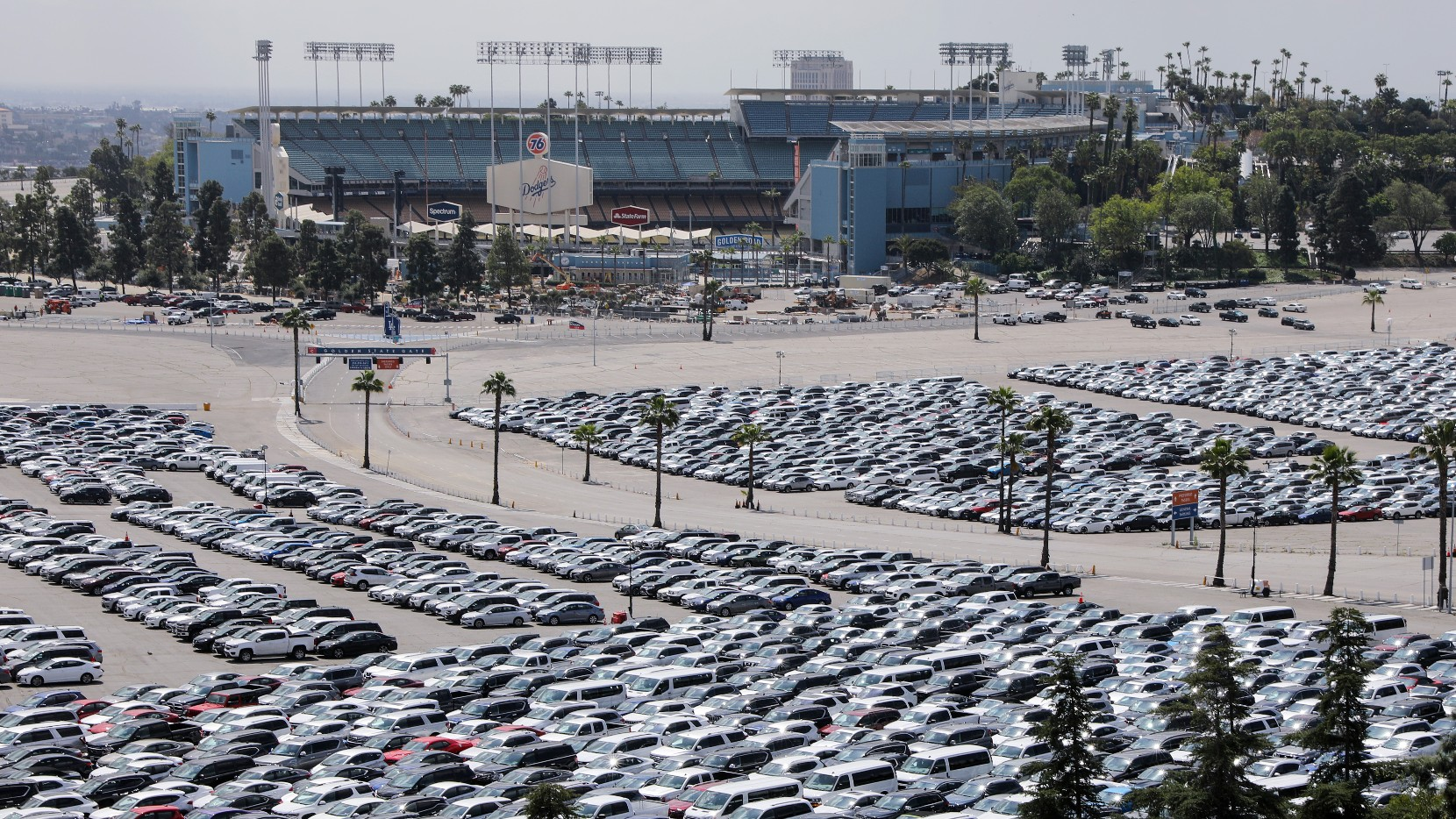 Stationed rental cars are parked in a lot at Dodger Stadium amid the coronavirus pandemic on April 2, 2020 in Los Angeles. (Mario Tama/Getty Images)