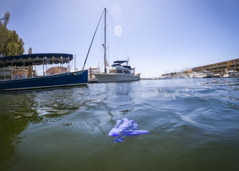 A glove floats in Newport Harbor after being discarded in Newport Beach in April. (Allen J. Schaben / Los Angeles Times)