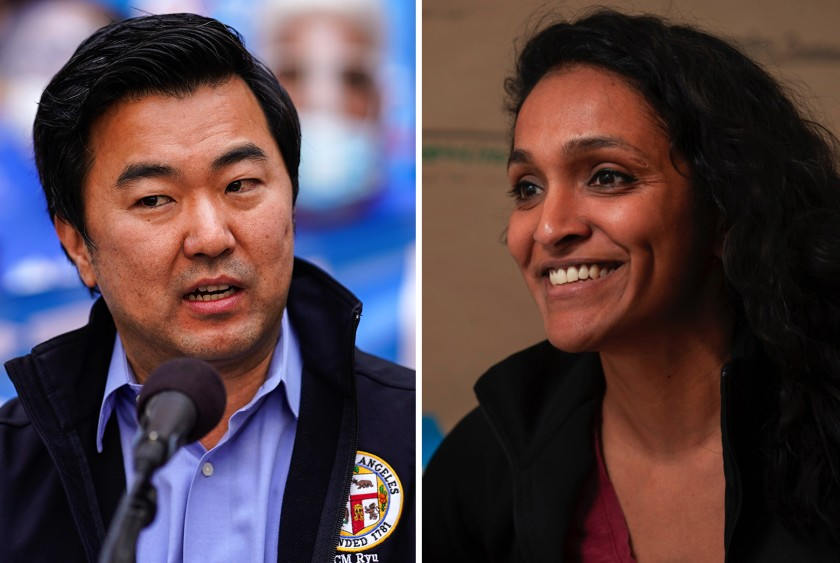 Los Angeles City Council candidates David Ryu and Nithya Raman are running to represent a district that stretches from Sherman Oaks to the Miracle Mile. (Los Angeles Times)
