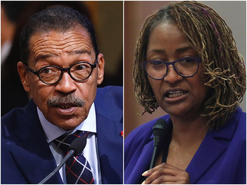 Herb Wesson and Holly Mitchell are seen in undated photo. (Los Angeles Times)