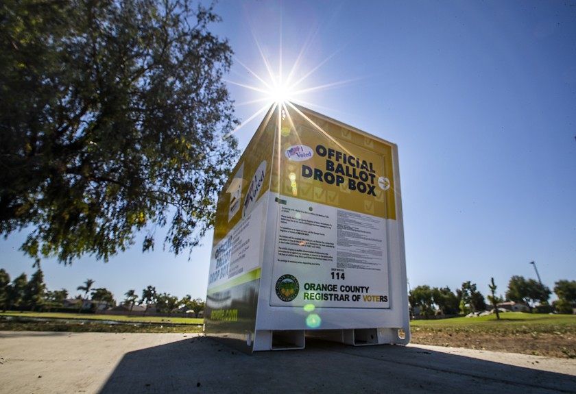 An official Orange County Registrar of Voters ballot drop box for the 2020 presidential election is seen at Carl Thornton Park in Santa Ana. (Allen J. Schaben /Los Angeles Times)