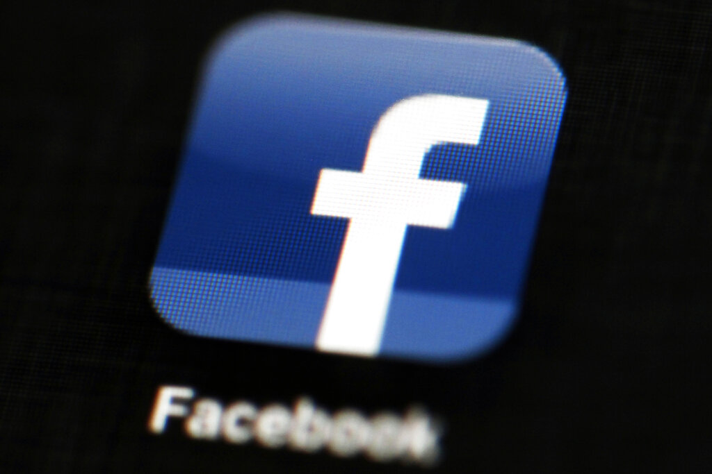The Facebook app icon is seen in an undated photo. (AP Photo/Matt Rourke, File)