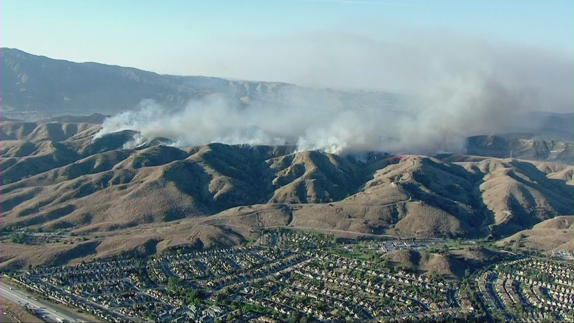 Smoke rises from the Blue Ridge Fire in the Yorba Linda and Chino Hills area on Oct. 27, 2020. (Sky5)