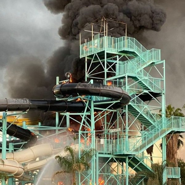The Redlands Fire Department released a photo of the fire at Splash Kingdom on Oct. 16, 2020.