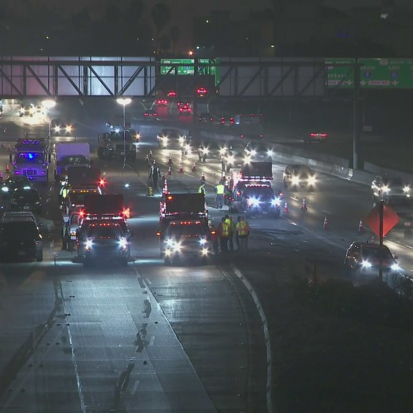 The closed southbound 110 Freeway is seen after a fatal hit-and-run crash in downtown L.A. on Wednesday, Oct. 21, 2020. (KTLA)