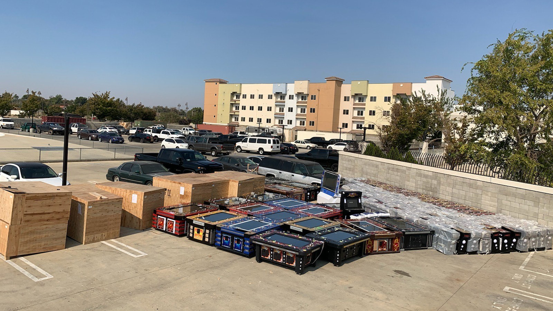 Illegal gambling machines seized during an investigation are shown in a photo released by the Los Angeles County Sheriff's Department on Oct. 21, 2020.