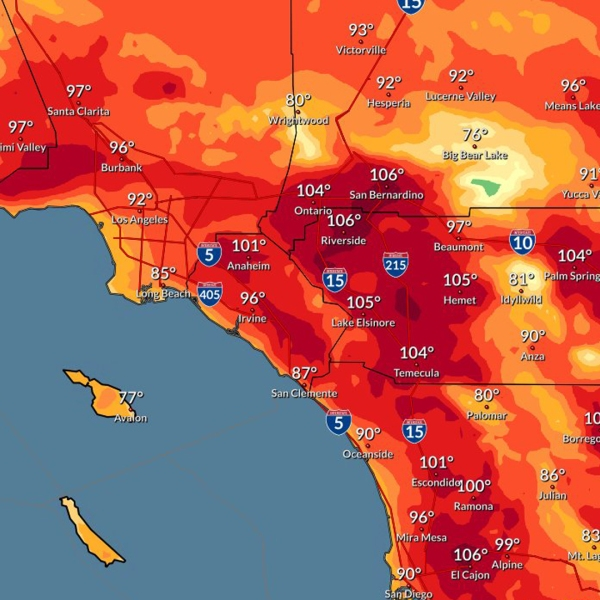 High temperatures expected for Oct. 13, 2020 are shown in a map provided by the National Weather Service in San Diego.