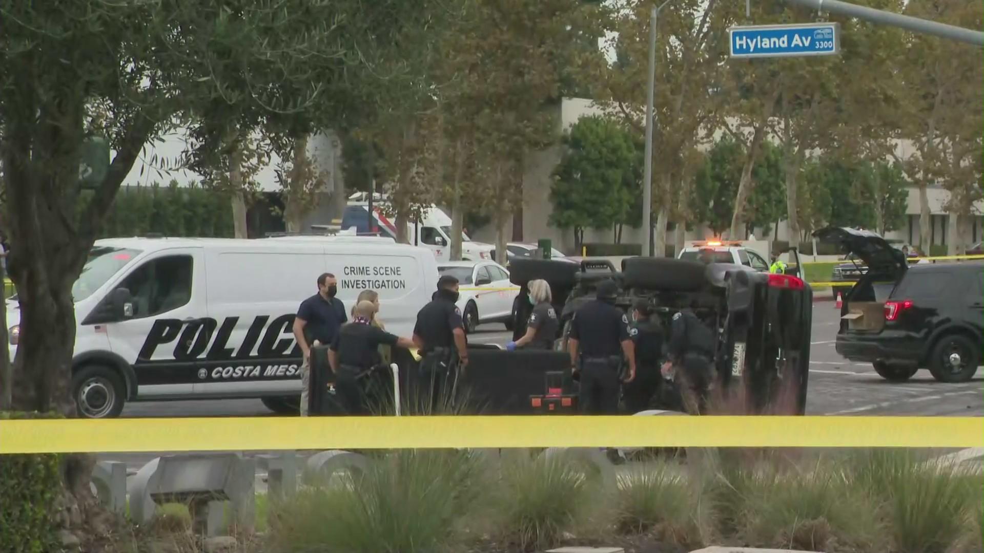 An investigation is underway following a fatal crash in Costa Mesa on Oct. 22, 2020. (KTLA)