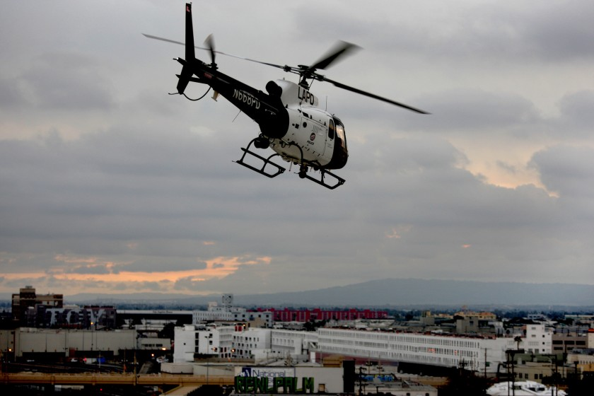 The LAPD says it will start recording protests from its helicopters, worrying civil liberties advocates.(Allen J. Schaben/Los Angeles Times)
