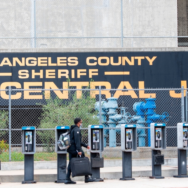 The Los Angeles County sheriff's Men's Central Jail in L.A.'s Chinatown is seen on May 12, 2020. (Valerie Macon / AFP / Getty Images)