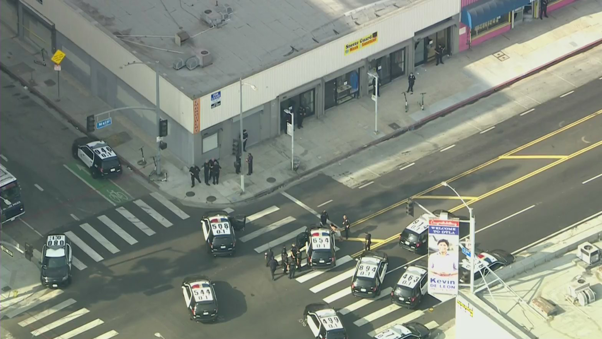 Several LAPD units respond to a police shooting in downtown Los Angeles on Oct. 23, 2020. (KTLA)